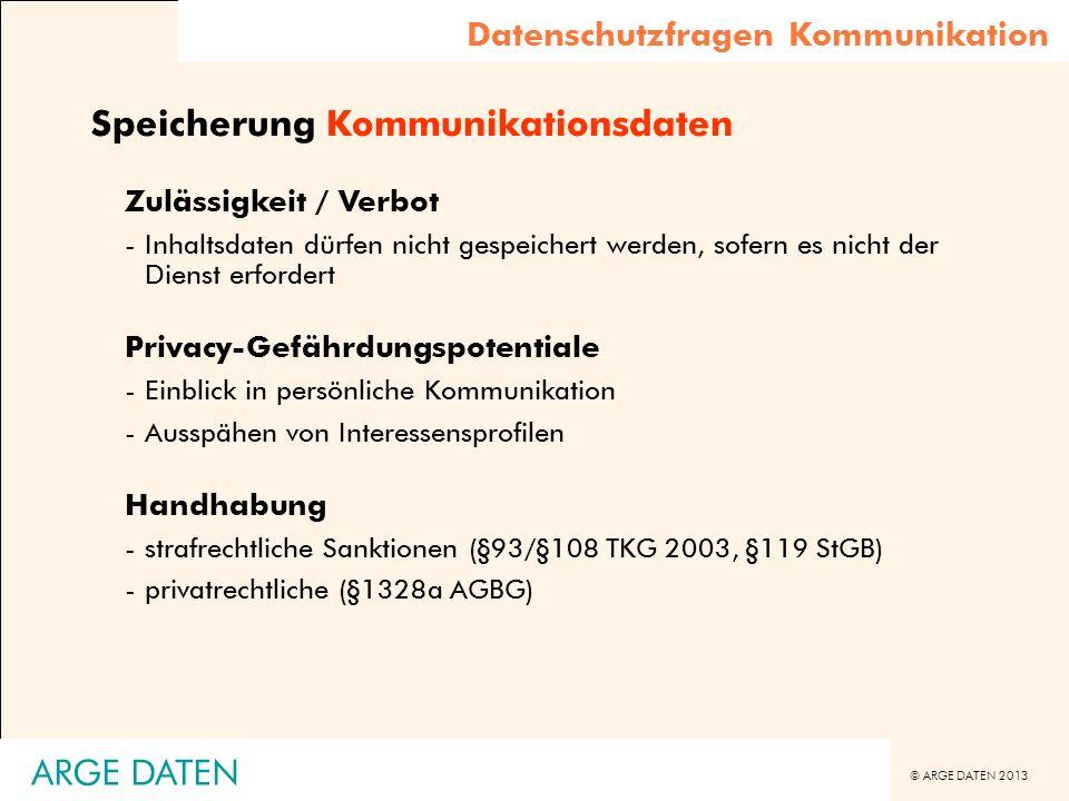 Speicherung Kommunikationsdaten