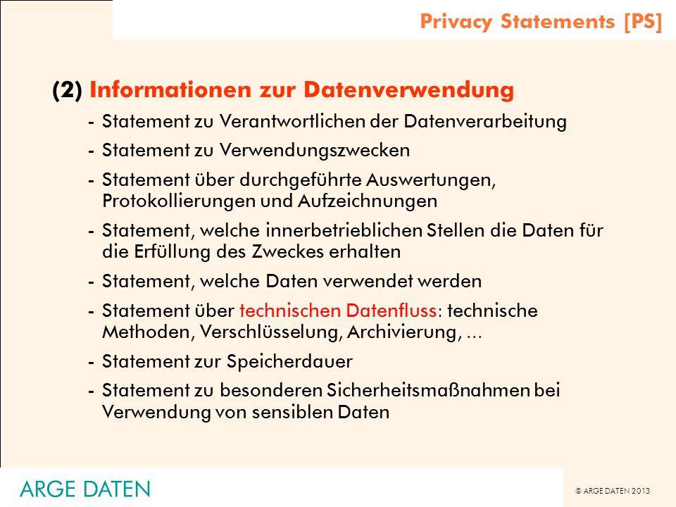 (2) Informationen zur Datenverwendung