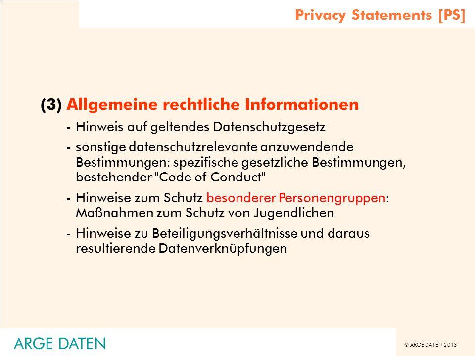 (3) Allgemeine rechtliche Informationen