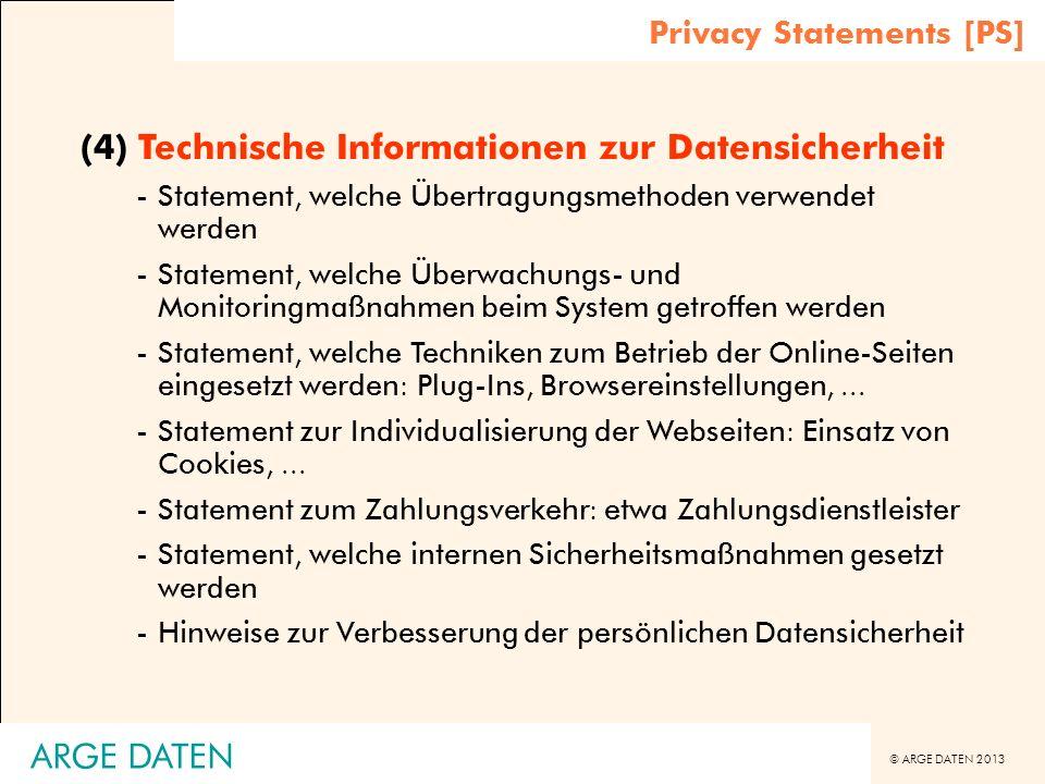 (4) Technische Informationen zur Datensicherheit