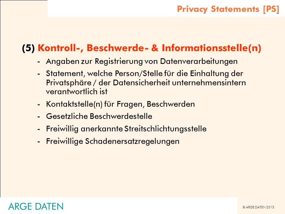 (5) Kontroll-, Beschwerde- & Informationsstelle(n)