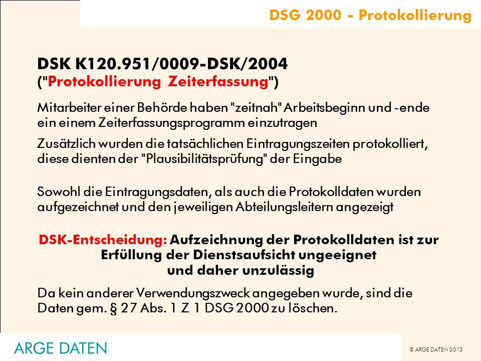 DSK K120.951/0009-DSK/2004 ( Protokollierung Zeiterfassung )