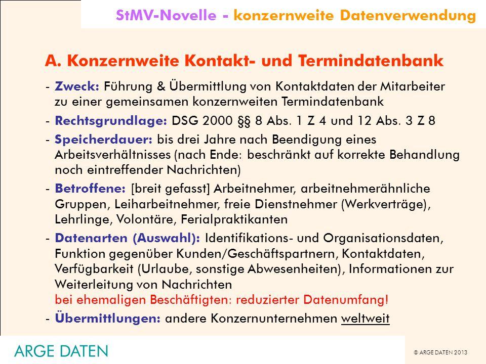 A. Konzernweite Kontakt- und Termindatenbank