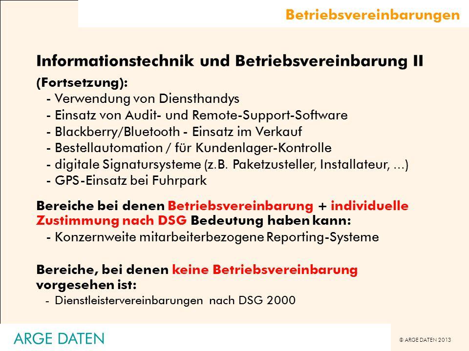 Informationstechnik und Betriebsvereinbarung II
