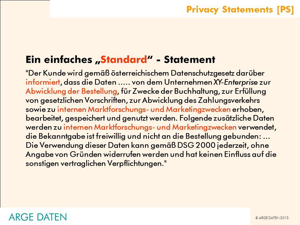 """Ein """"Standard - Statement"""