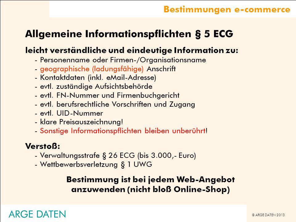 Allgemeine Informationspflichten § 5 ECG