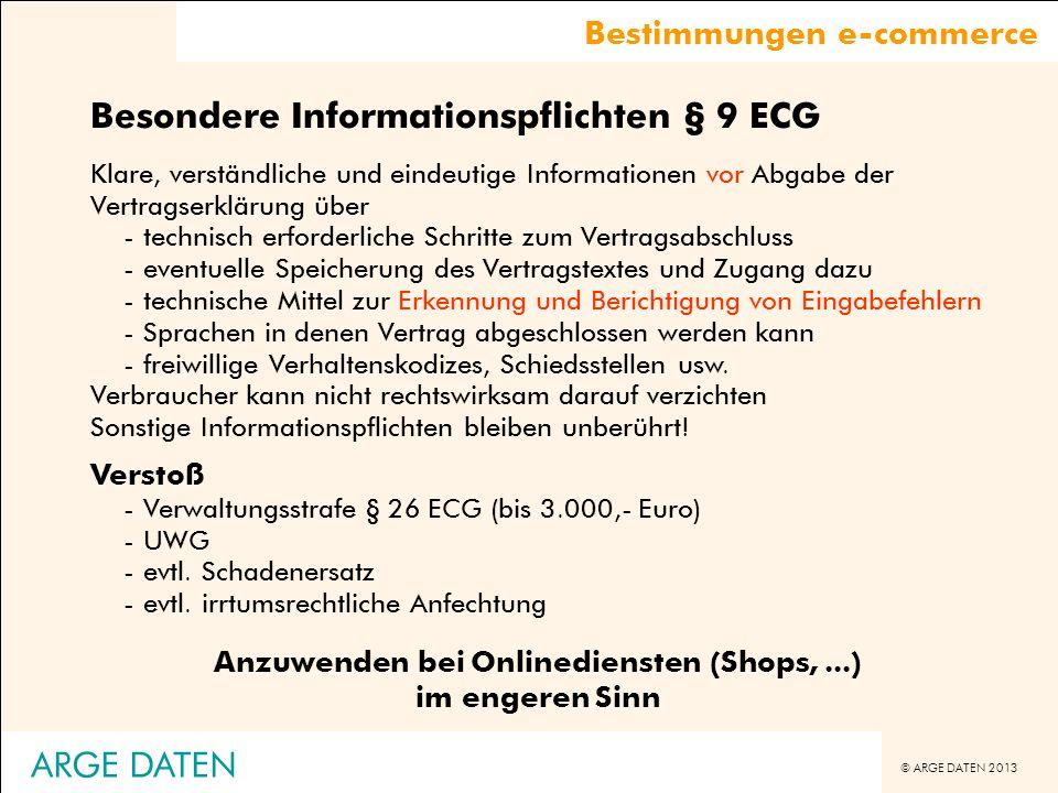 Anzuwenden bei Onlinediensten (Shops, ...) im engeren Sinn