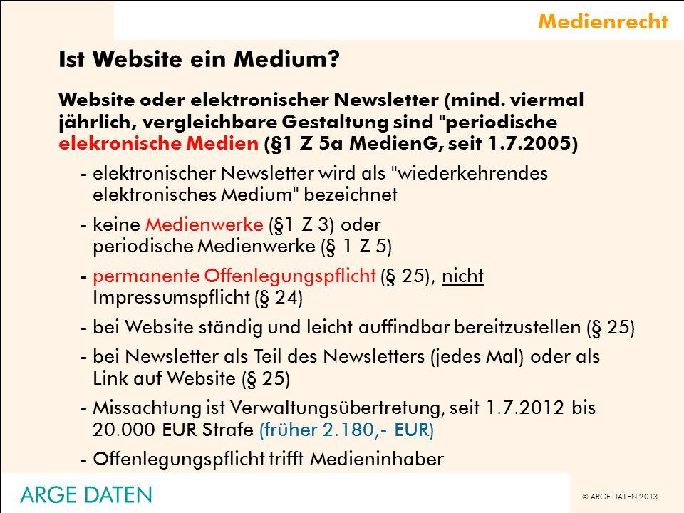 Ist Website ein Medium ARGE DATEN Medienrecht
