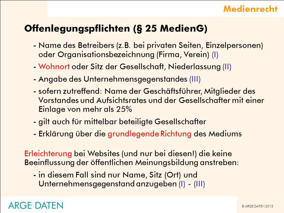 Offenlegungspflichten (§ 25 MedienG)