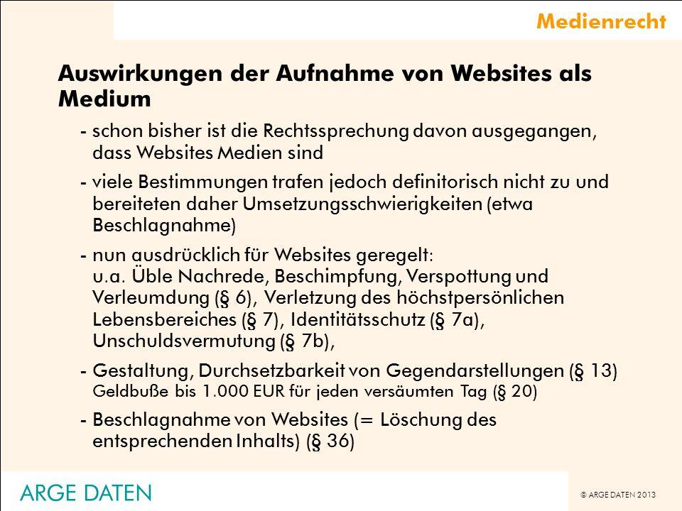 Auswirkungen der Aufnahme von Websites als Medium