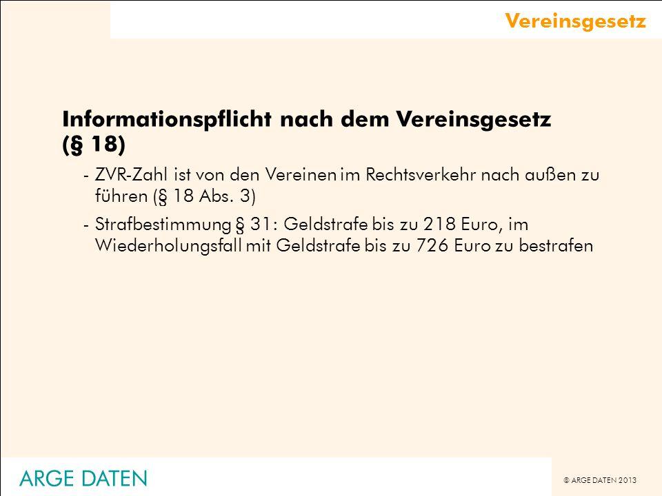 Informationspflicht nach dem Vereinsgesetz (§ 18)