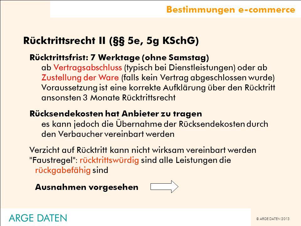 Rücktrittsrecht II (§§ 5e, 5g KSchG)