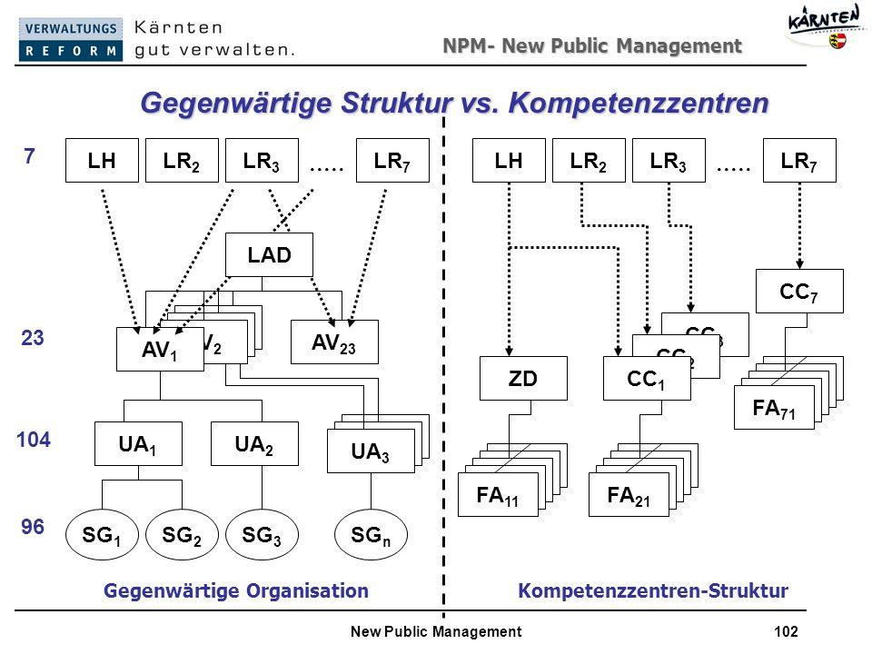 Gegenwärtige Struktur vs. Kompetenzzentren