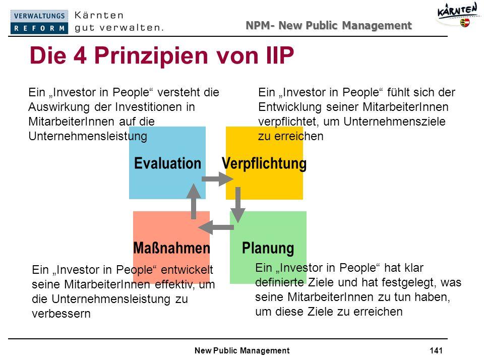 Die 4 Prinzipien von IIP Evaluation Verpflichtung Maßnahmen Planung