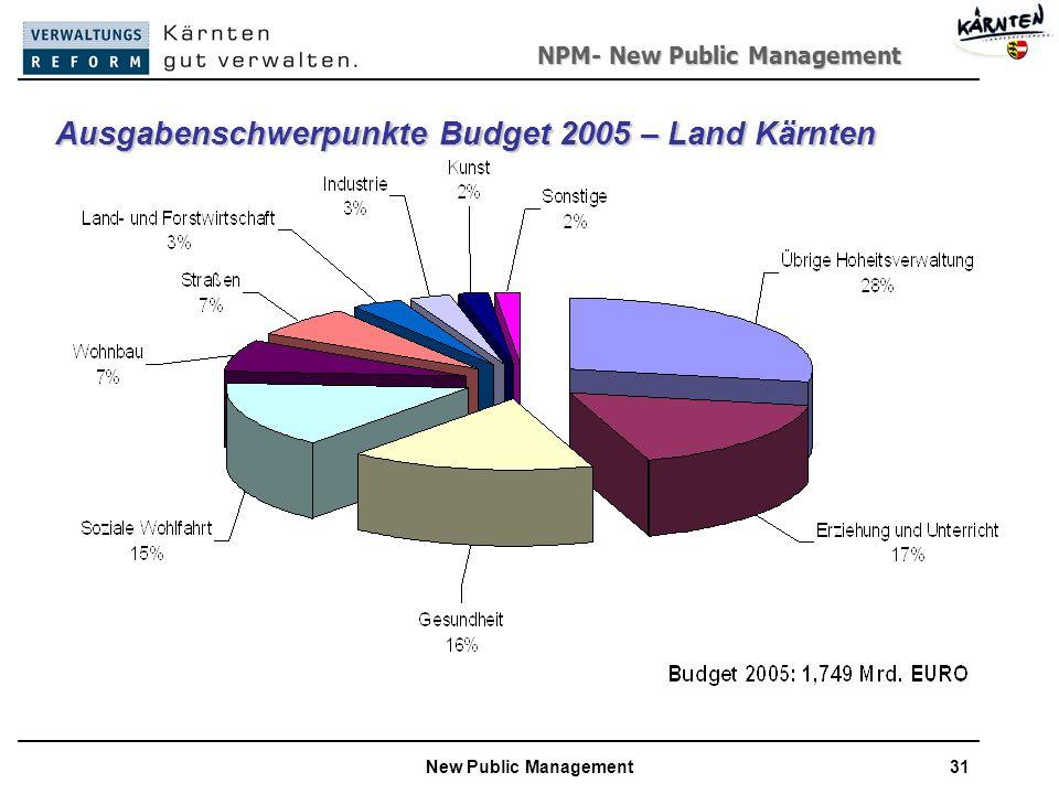Ausgabenschwerpunkte Budget 2005 – Land Kärnten