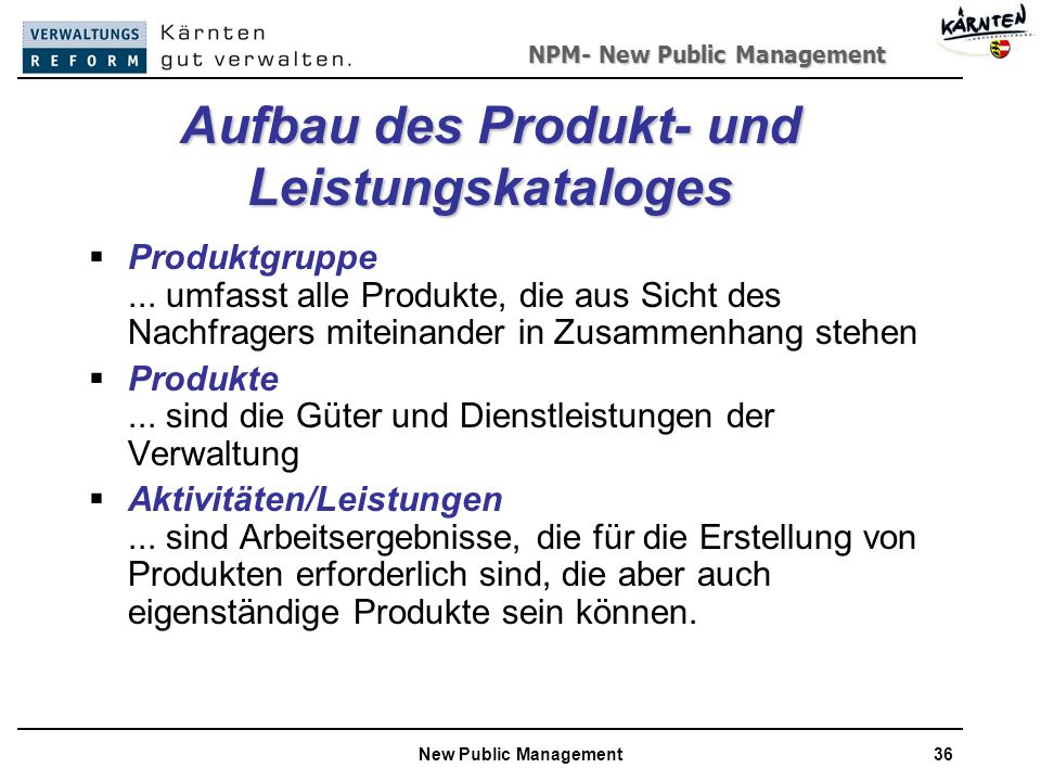 Aufbau des Produkt- und Leistungskataloges