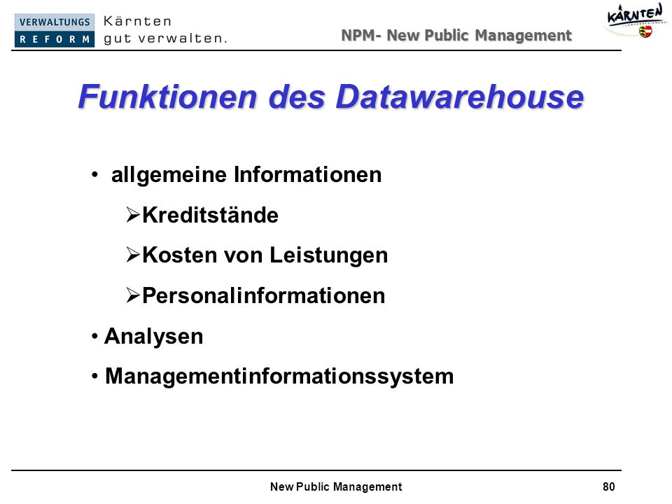 Funktionen des Datawarehouse