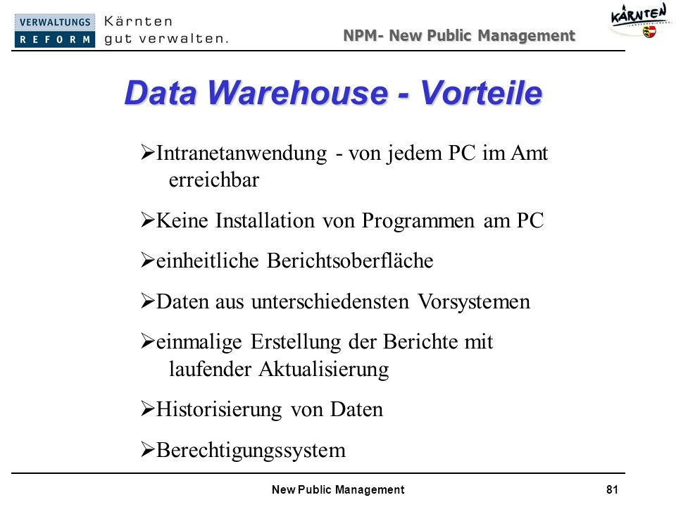 Data Warehouse - Vorteile