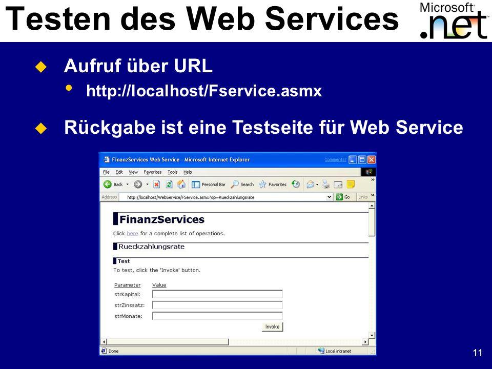 Testen des Web Services
