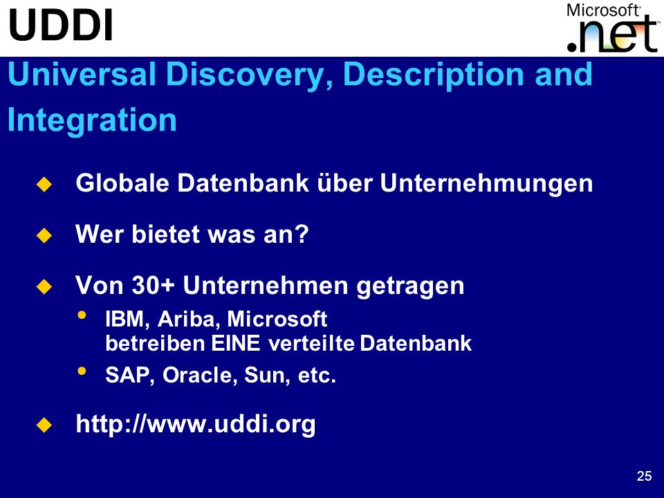 UDDI Universal Discovery, Description and Integration