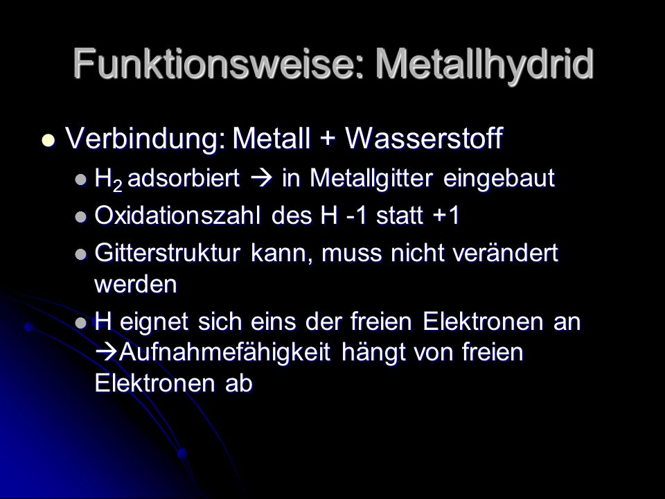 Funktionsweise: Metallhydrid