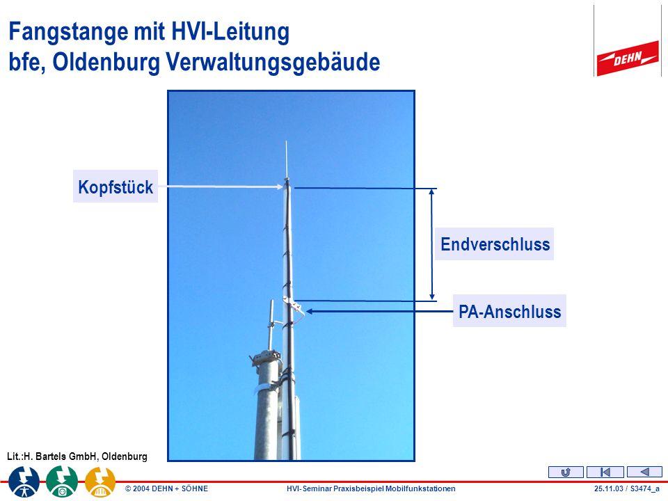 Fangstange mit HVI-Leitung bfe, Oldenburg Verwaltungsgebäude
