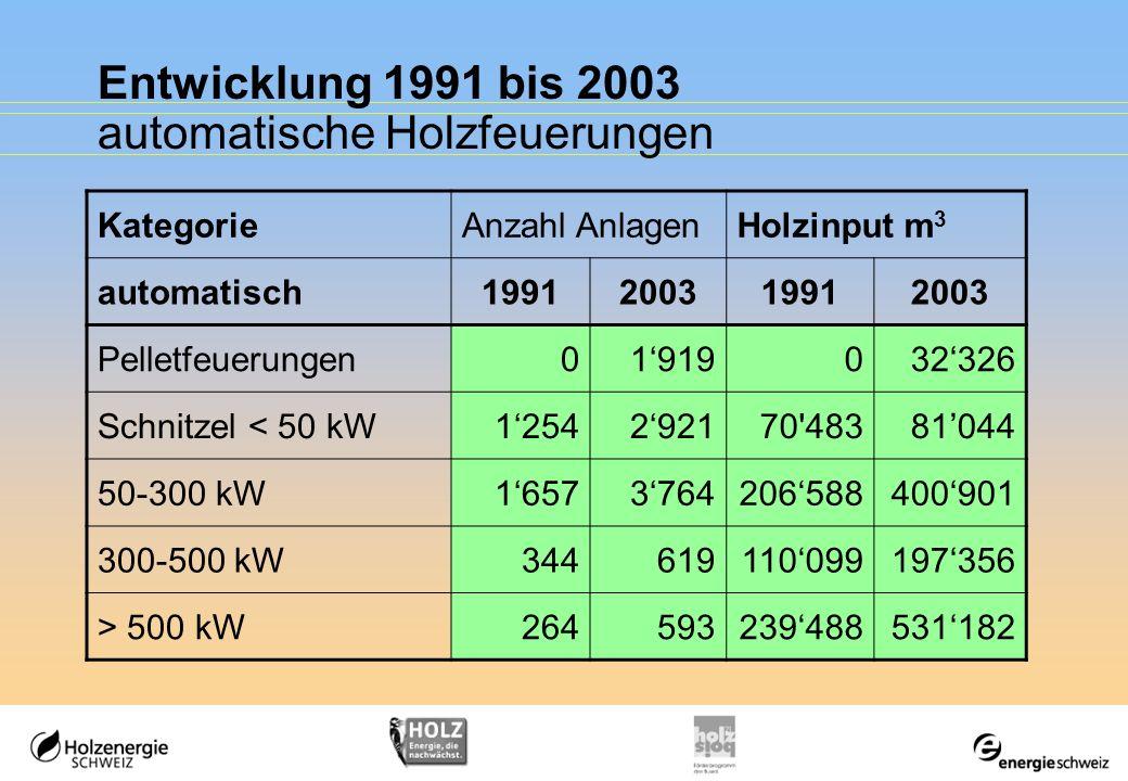 Entwicklung 1991 bis 2003 automatische Holzfeuerungen