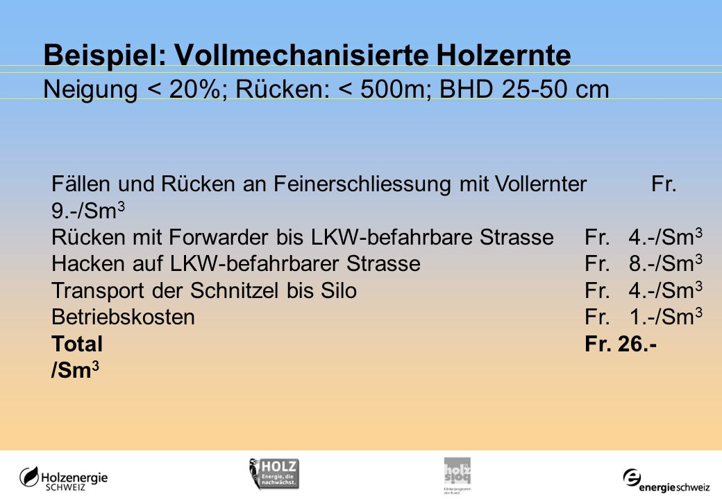 Beispiel: Vollmechanisierte Holzernte Neigung < 20%; Rücken: < 500m; BHD 25-50 cm