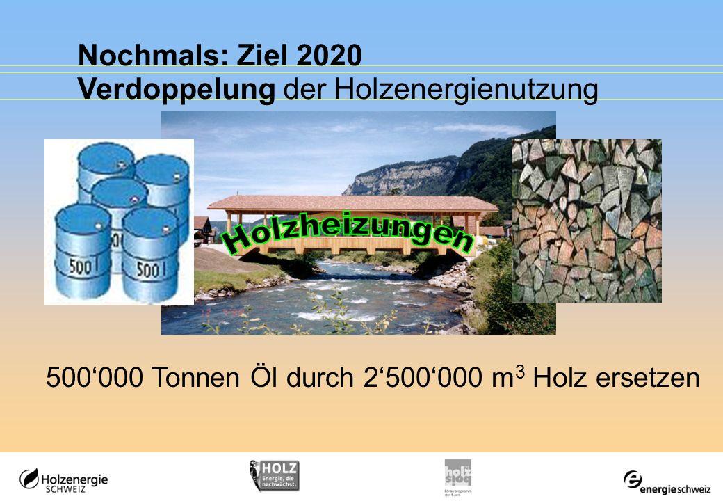 Holzheizungen Nochmals: Ziel 2020 Verdoppelung der Holzenergienutzung