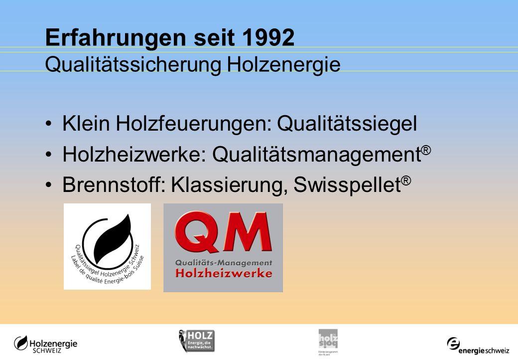 Erfahrungen seit 1992 Qualitätssicherung Holzenergie