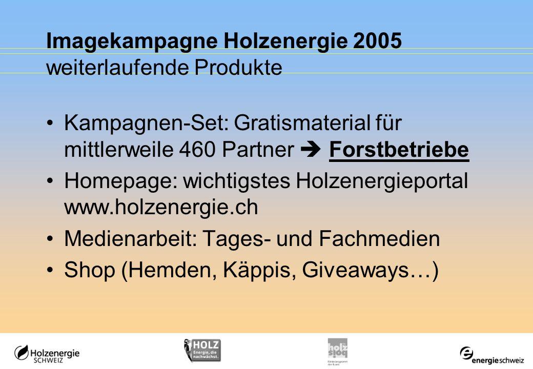 Imagekampagne Holzenergie 2005 weiterlaufende Produkte