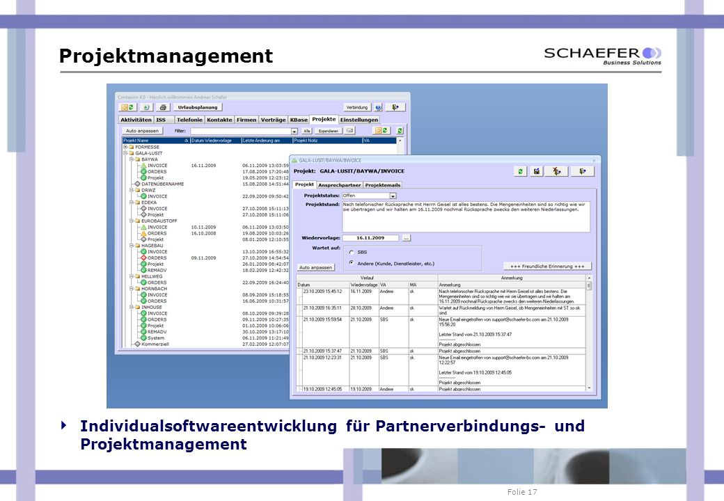Projektmanagement Individualsoftwareentwicklung für Partnerverbindungs- und Projektmanagement