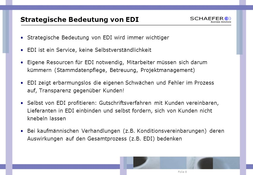 Strategische Bedeutung von EDI