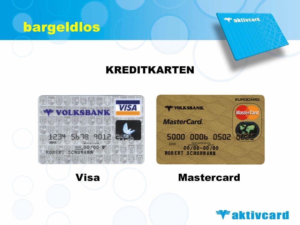 bargeldlos KREDITKARTEN Visa Mastercard