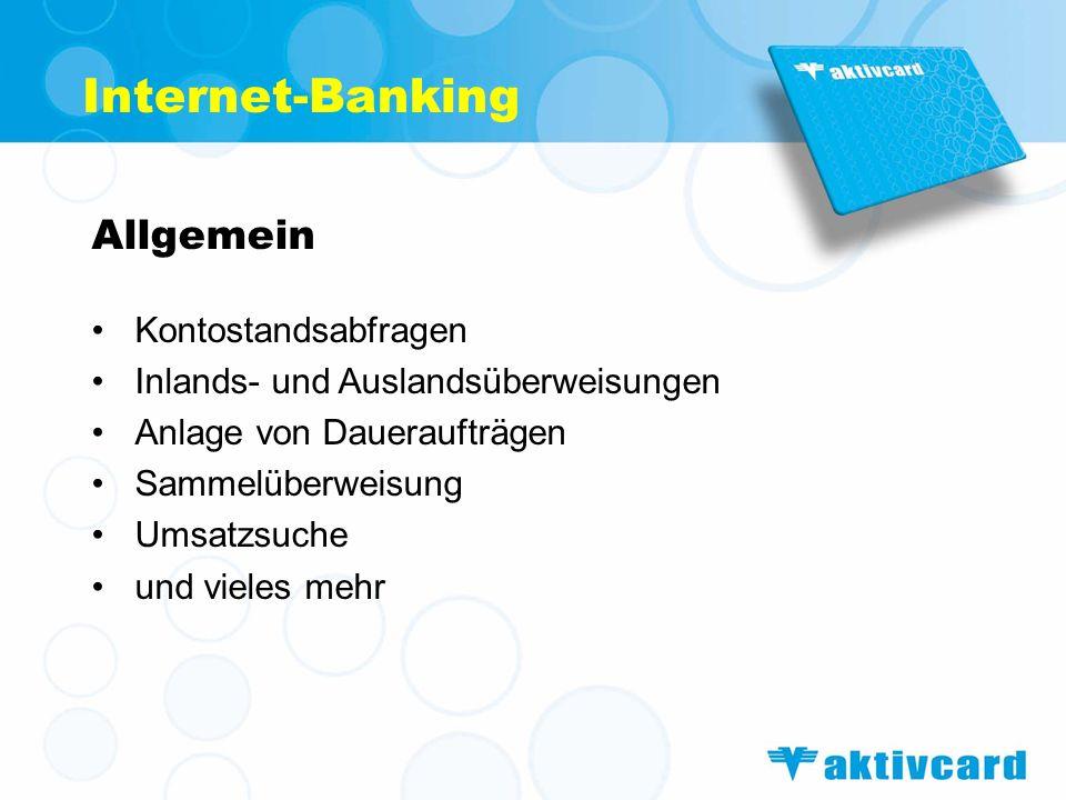 Internet-Banking Allgemein Kontostandsabfragen