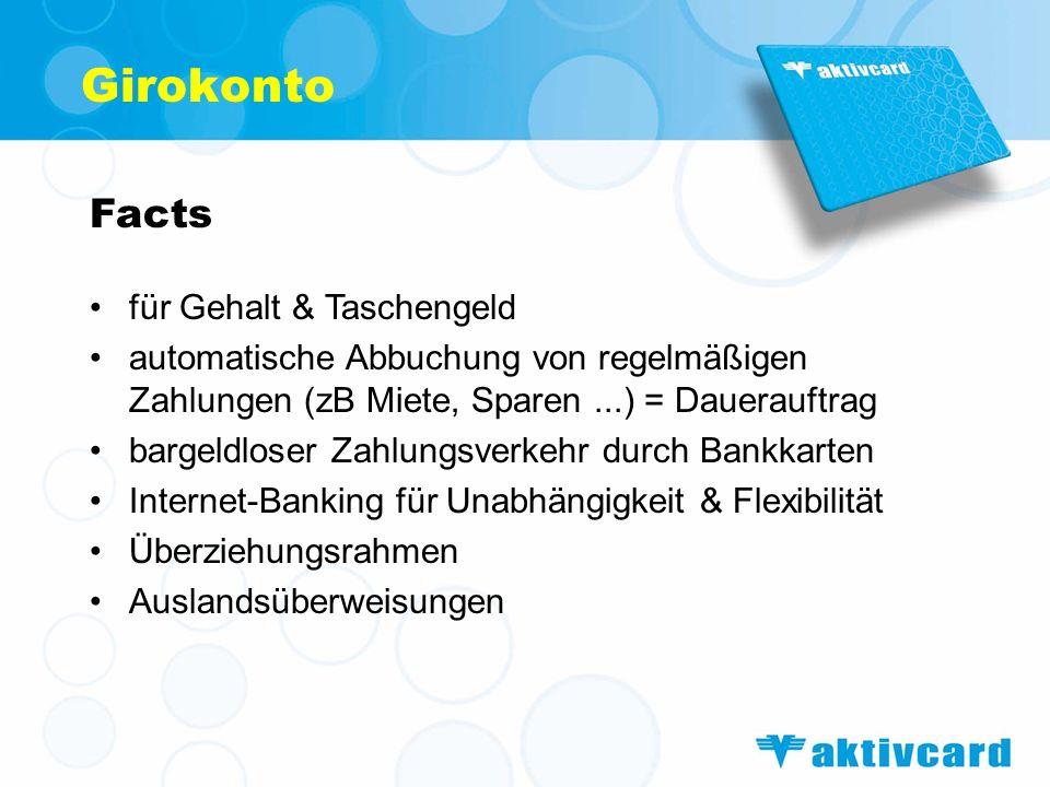 Girokonto Facts für Gehalt & Taschengeld