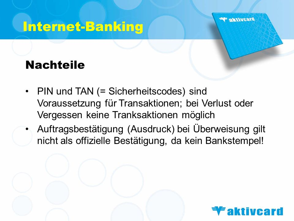Internet-Banking Nachteile