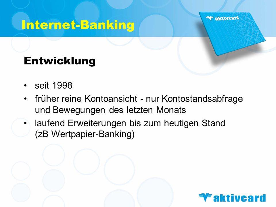 Internet-Banking Entwicklung seit 1998