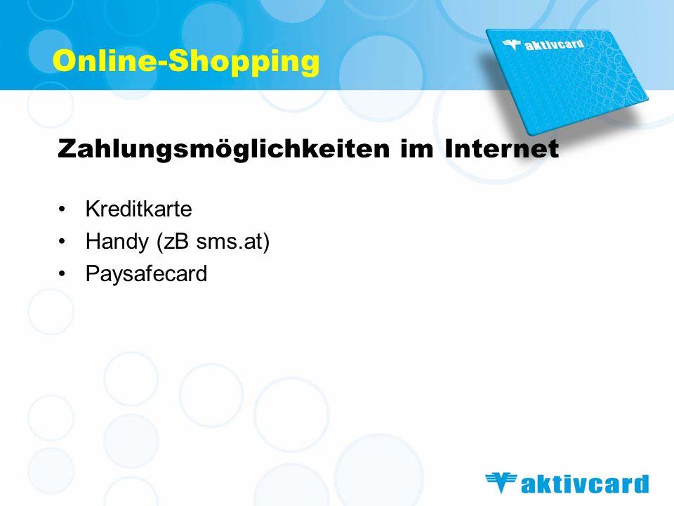 Online-Shopping Zahlungsmöglichkeiten im Internet Kreditkarte