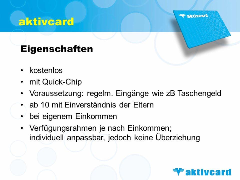 aktivcard Eigenschaften kostenlos mit Quick-Chip