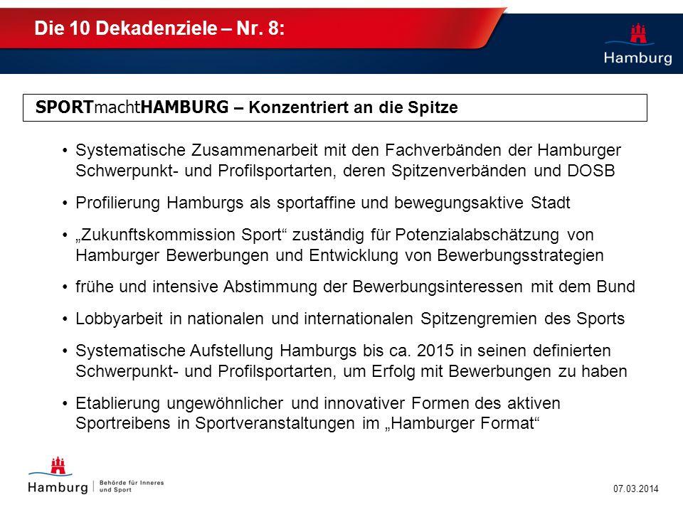 Die 10 Dekadenziele – Nr. 8: SPORTmachtHAMBURG – Konzentriert an die Spitze.