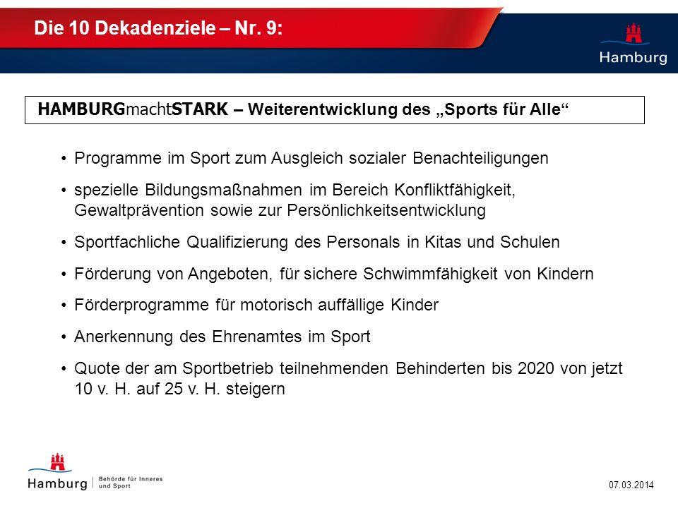 """Die 10 Dekadenziele – Nr. 9: HAMBURGmachtSTARK – Weiterentwicklung des """"Sports für Alle Programme im Sport zum Ausgleich sozialer Benachteiligungen."""