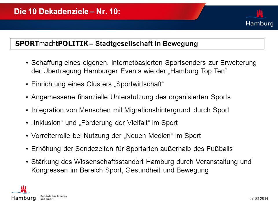 Die 10 Dekadenziele – Nr. 10: SPORTmachtPOLITIK – Stadtgesellschaft in Bewegung.