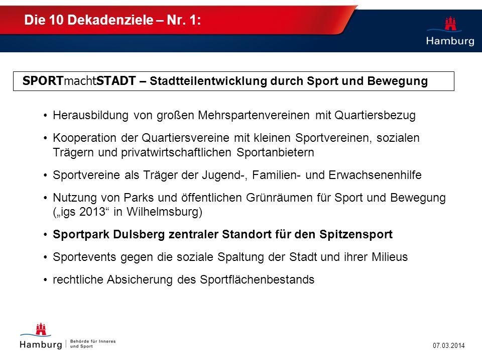 Die 10 Dekadenziele – Nr. 1: SPORTmachtSTADT – Stadtteilentwicklung durch Sport und Bewegung.