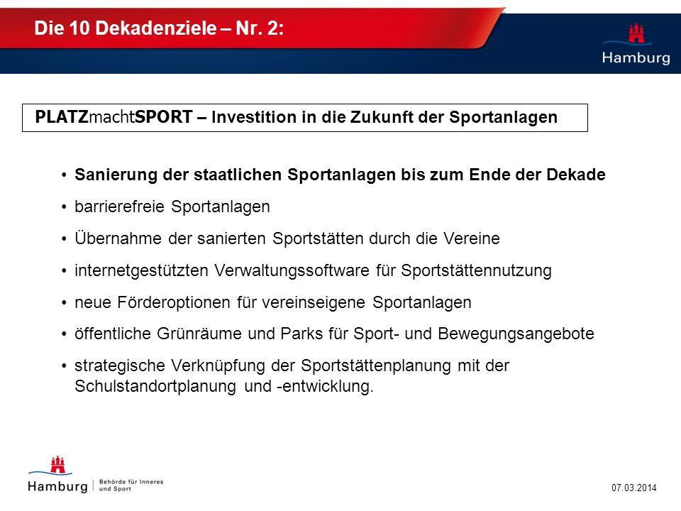Die 10 Dekadenziele – Nr. 2: PLATZmachtSPORT – Investition in die Zukunft der Sportanlagen.