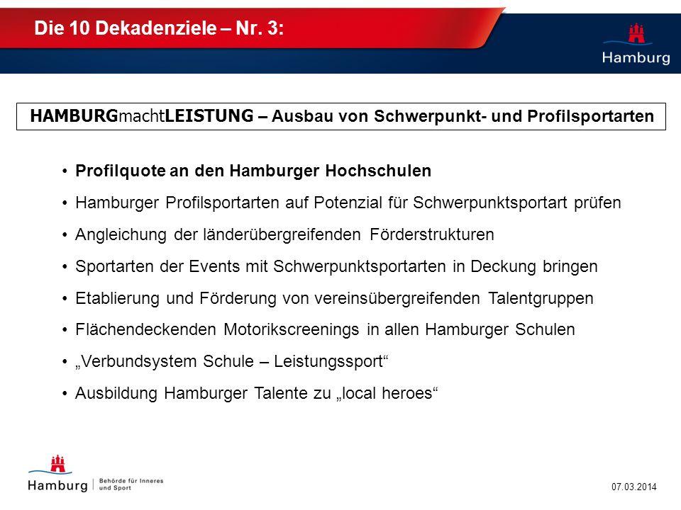 Die 10 Dekadenziele – Nr. 3: HAMBURGmachtLEISTUNG – Ausbau von Schwerpunkt- und Profilsportarten. Profilquote an den Hamburger Hochschulen.