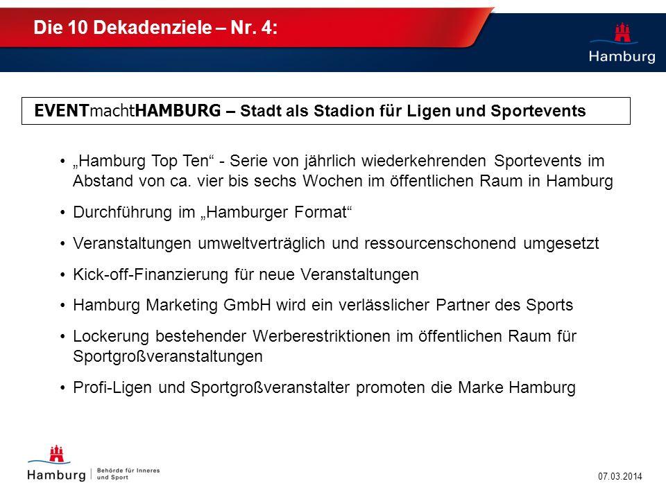 Die 10 Dekadenziele – Nr. 4: EVENTmachtHAMBURG – Stadt als Stadion für Ligen und Sportevents.