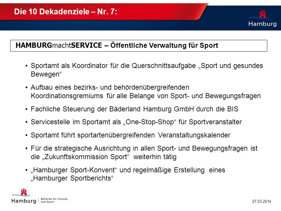 Die 10 Dekadenziele – Nr. 7: HAMBURGmachtSERVICE – Öffentliche Verwaltung für Sport.