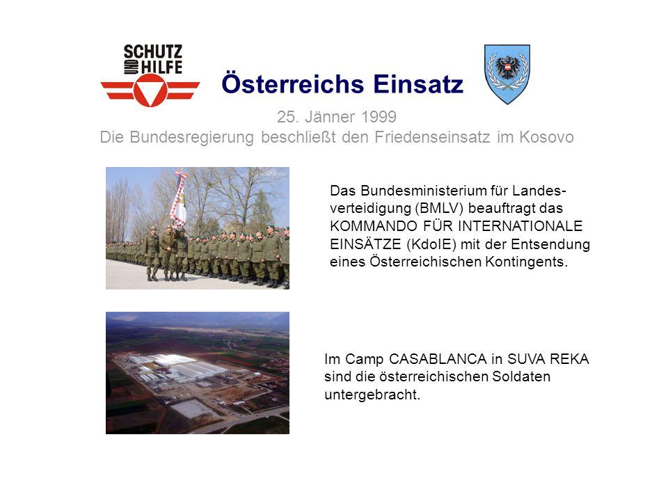 Österreichs Einsatz 25. Jänner 1999 Die Bundesregierung beschließt den Friedenseinsatz im Kosovo.