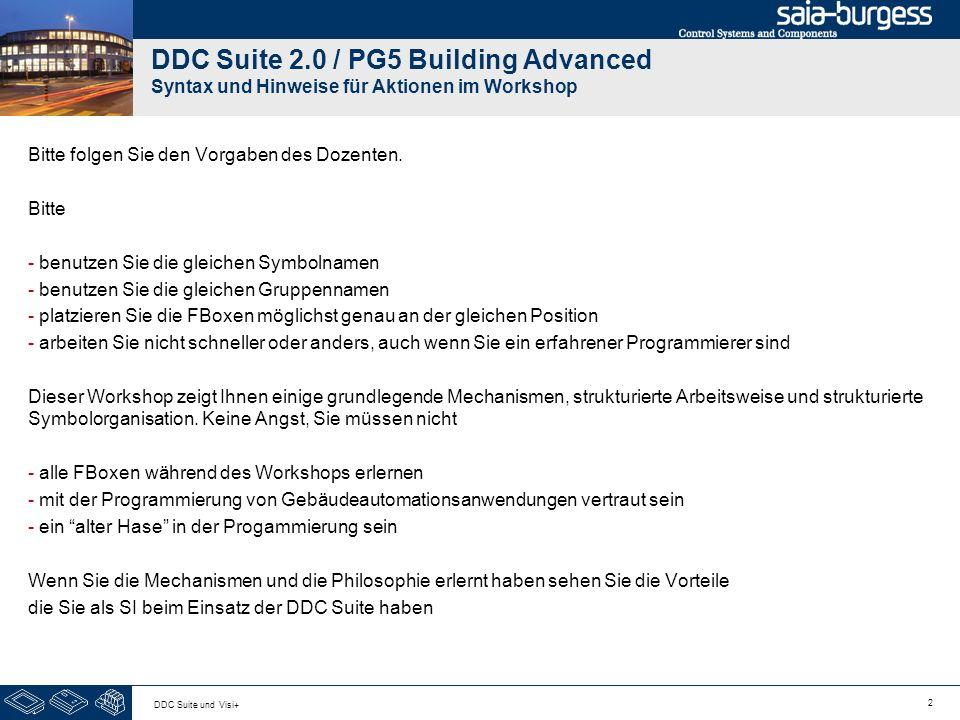 DDC Suite 2.0 / PG5 Building Advanced Syntax und Hinweise für Aktionen im Workshop